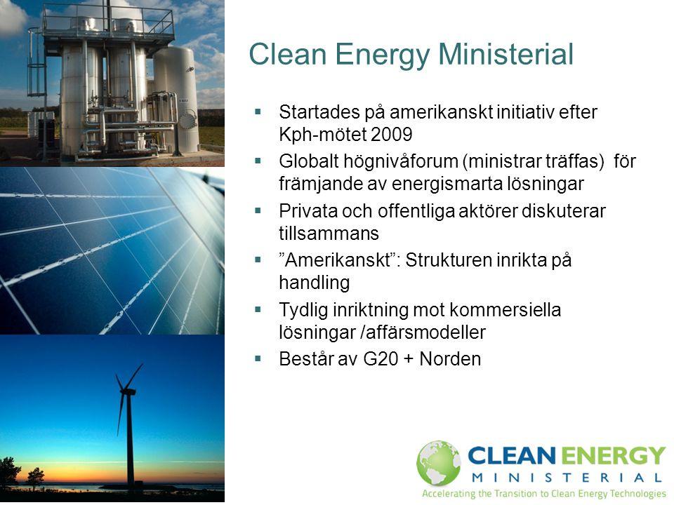 Clean Energy Ministerial  Startades på amerikanskt initiativ efter Kph-mötet 2009  Globalt högnivåforum (ministrar träffas) för främjande av energis
