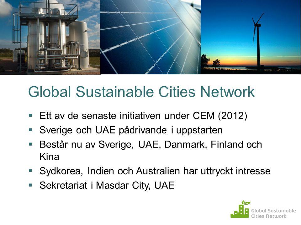 Global Sustainable Cities Network  Ett av de senaste initiativen under CEM (2012)  Sverige och UAE pådrivande i uppstarten  Består nu av Sverige, U