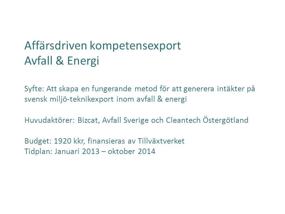 Affärsdriven kompetensexport Avfall & Energi Syfte: Att skapa en fungerande metod för att generera intäkter på svensk miljö-teknikexport inom avfall &