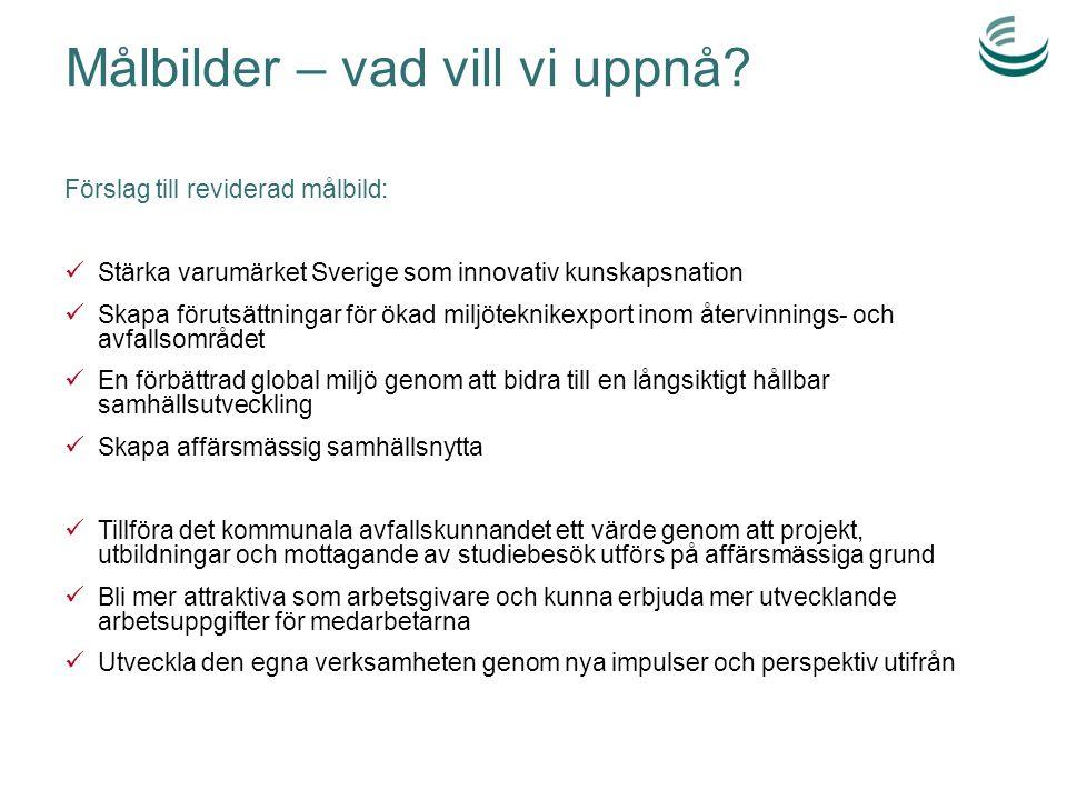Målbilder – vad vill vi uppnå? Förslag till reviderad målbild: Stärka varumärket Sverige som innovativ kunskapsnation Skapa förutsättningar för ökad m