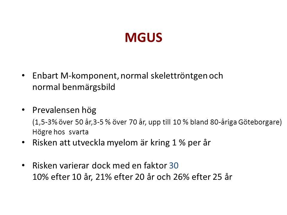 MGUS Enbart M-komponent, normal skelettröntgen och normal benmärgsbild Prevalensen hög (1,5-3% över 50 år,3-5 % över 70 år, upp till 10 % bland 80-åri
