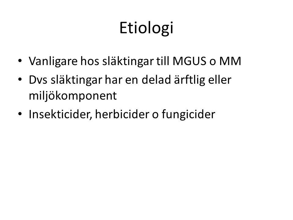 Smouldering myelom (asymtomatisk) 12-17% av alla nydiagnosticerade MM 3-årsöverlevnad på svenska patienter 81% 2008-2011 Risk att gå över i symptomatisk plasmacellssjukdom är 10% per år första 5 åren, 3% per år nästa 5 år och därefter likt MGUS med 1-2% risk per år