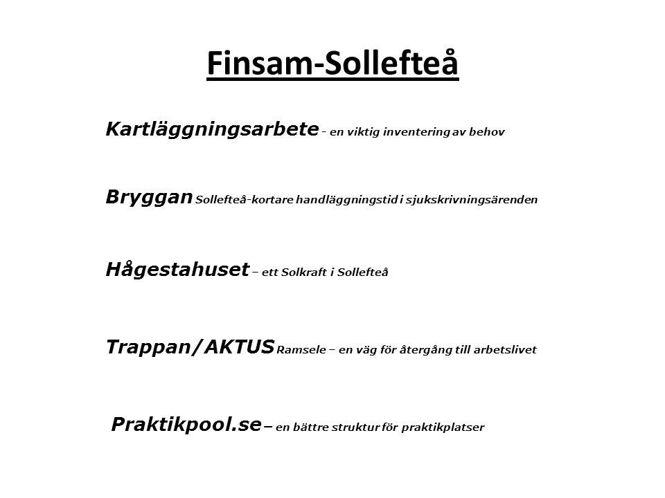 Bryggan Sollefteå-kortare handläggningstid i sjukskrivningsärenden Hågestahuset – ett Solkraft i Sollefteå Trappan/AKTUS Ramsele – en väg för återgång till arbetslivet Praktikpool.se – en bättre struktur för praktikplatser Kartläggningsarbete - en viktig inventering av behov Finsam-Sollefteå