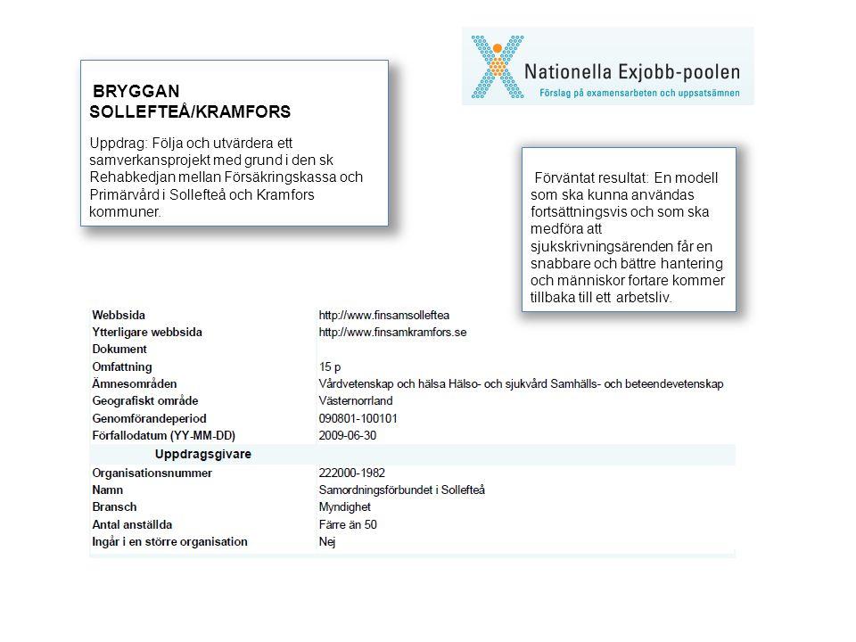BRYGGAN SOLLEFTEÅ/KRAMFORS Uppdrag: Följa och utvärdera ett samverkansprojekt med grund i den sk Rehabkedjan mellan Försäkringskassa och Primärvård i Sollefteå och Kramfors kommuner.