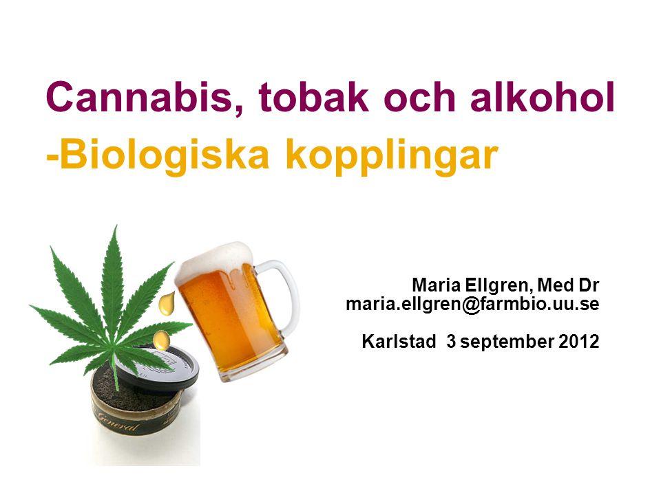 Maria Ellgren, Med Dr maria.ellgren@farmbio.uu.se Karlstad 3 september 2012 Cannabis, tobak och alkohol -Biologiska kopplingar
