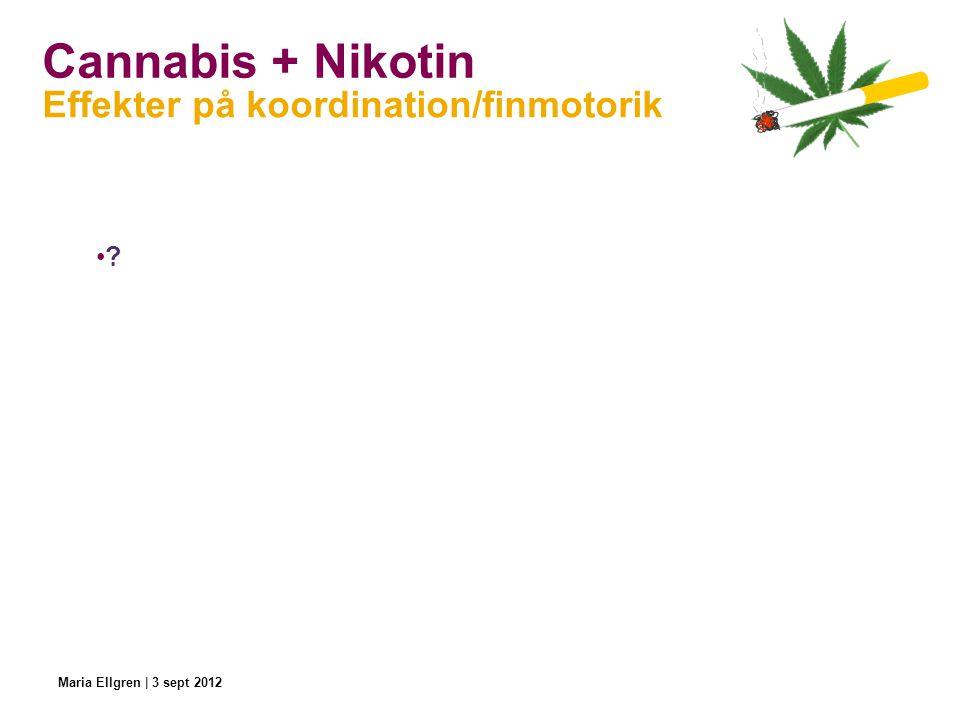 Cannabis + Nikotin ? Effekter på koordination/finmotorik Maria Ellgren | 3 sept 2012
