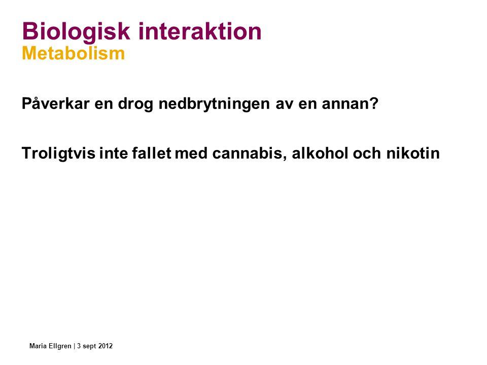 Biologisk interaktion Metabolism Påverkar en drog nedbrytningen av en annan? Troligtvis inte fallet med cannabis, alkohol och nikotin Maria Ellgren |