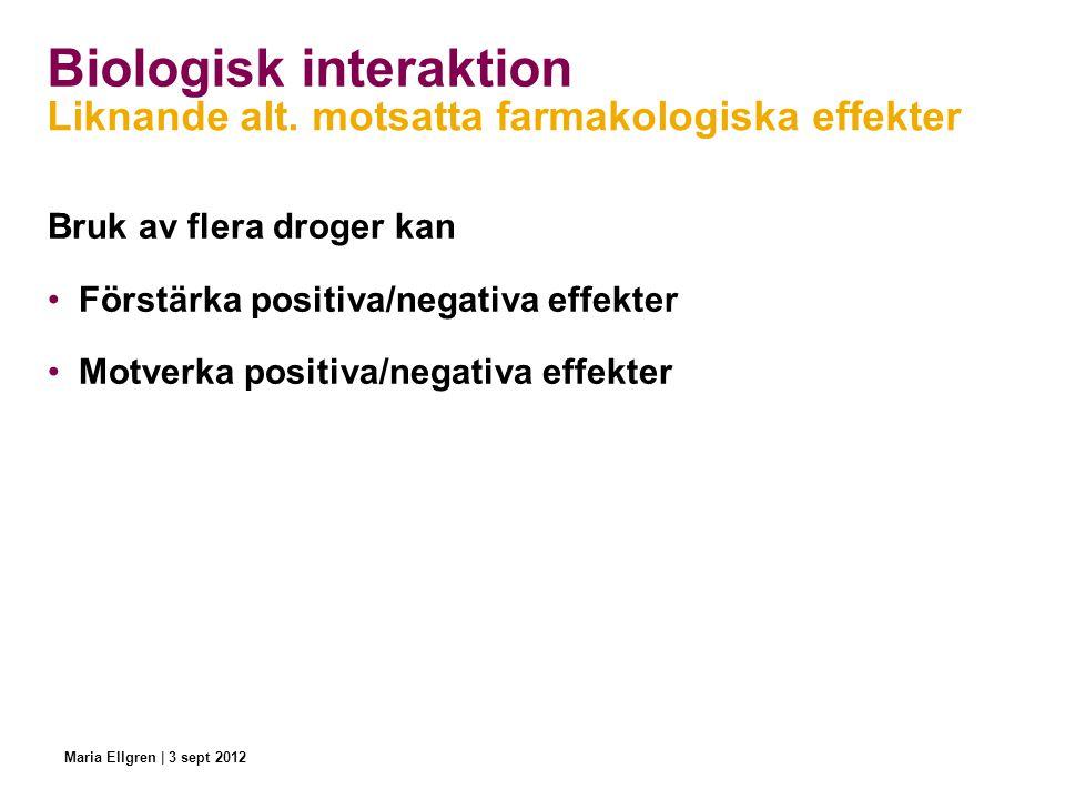 Bruk av flera droger kan Förstärka positiva/negativa effekter Motverka positiva/negativa effekter Biologisk interaktion Liknande alt. motsatta farmako