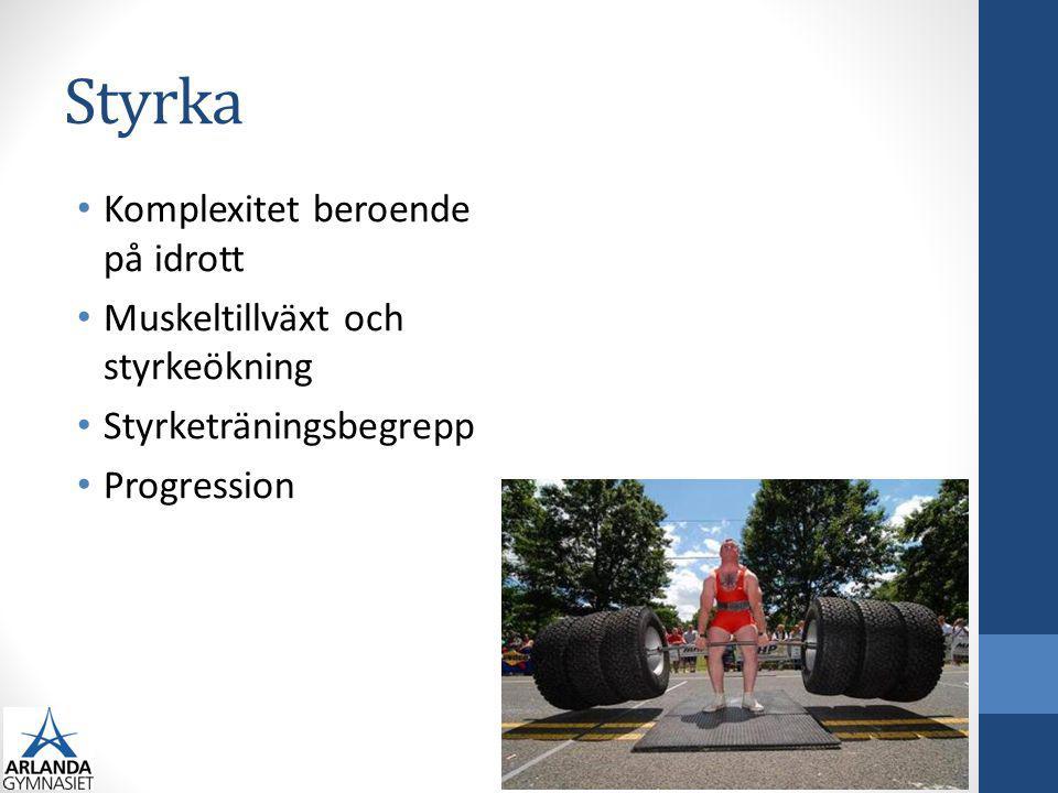 Styrka Komplexitet beroende på idrott Muskeltillväxt och styrkeökning Styrketräningsbegrepp Progression