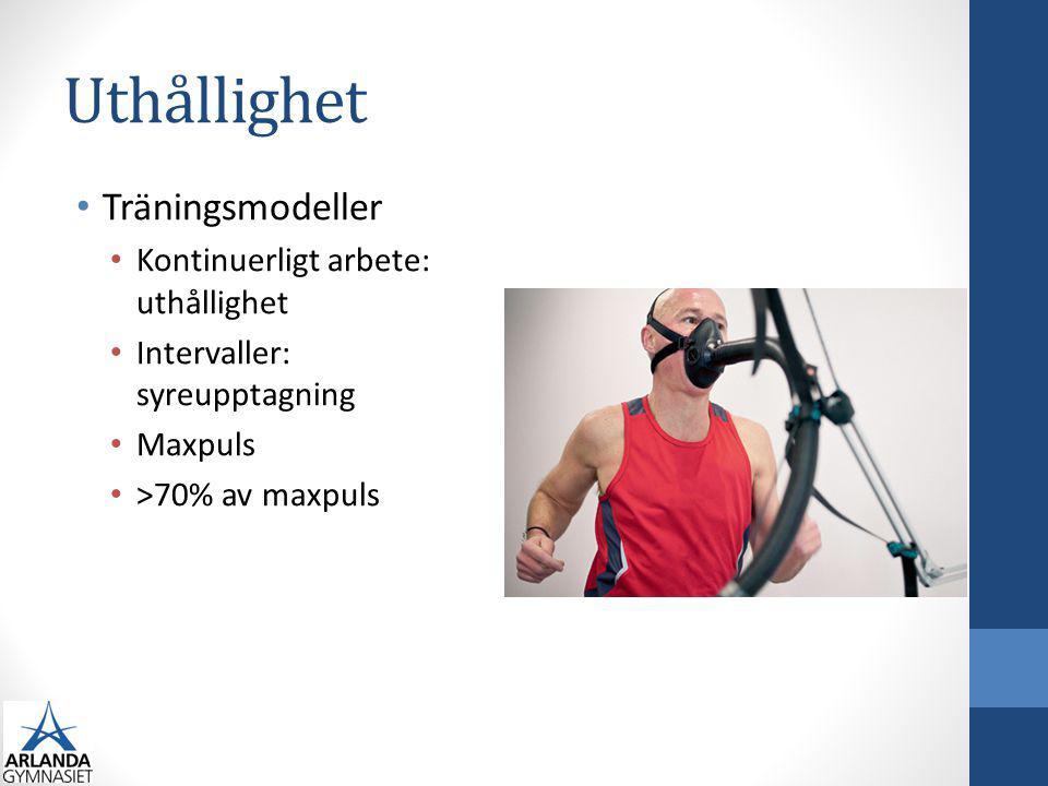 Uthållighet Träningsmodeller Kontinuerligt arbete: uthållighet Intervaller: syreupptagning Maxpuls >70% av maxpuls