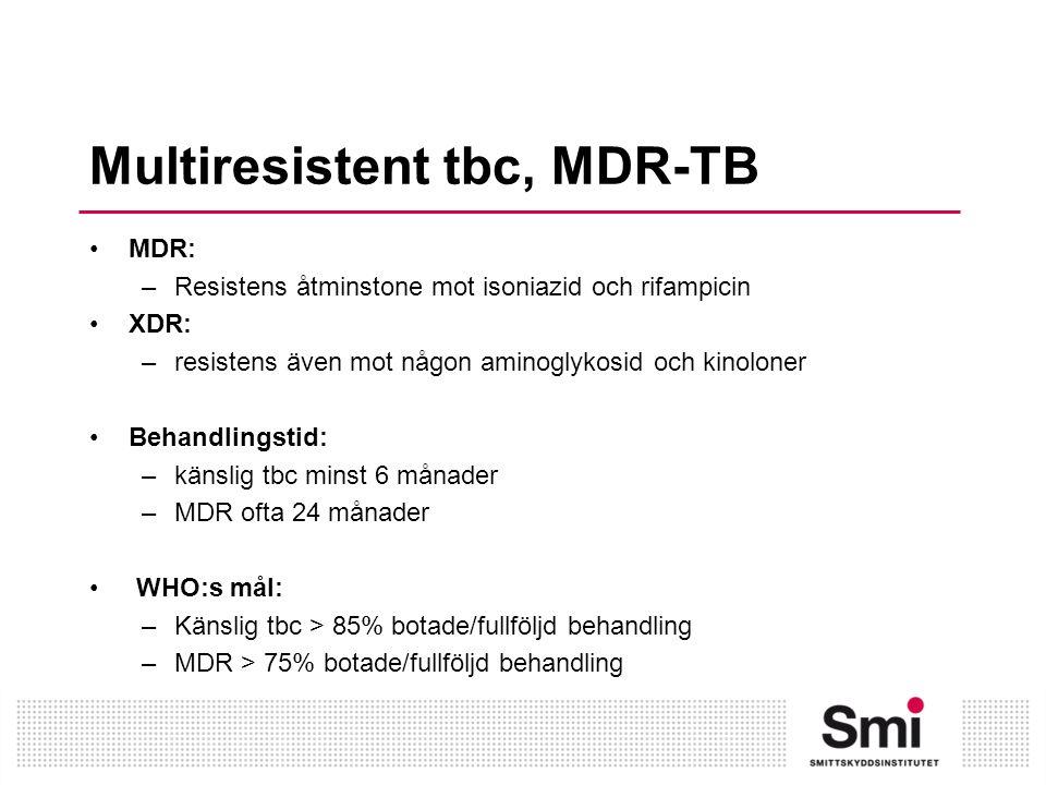 Multiresistent tbc, MDR-TB MDR: –Resistens åtminstone mot isoniazid och rifampicin XDR: –resistens även mot någon aminoglykosid och kinoloner Behandlingstid: –känslig tbc minst 6 månader –MDR ofta 24 månader WHO:s mål: –Känslig tbc > 85% botade/fullföljd behandling –MDR > 75% botade/fullföljd behandling