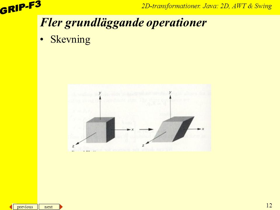 previous next 12 2D-transformationer. Java: 2D, AWT & Swing Fler grundläggande operationer Skevning