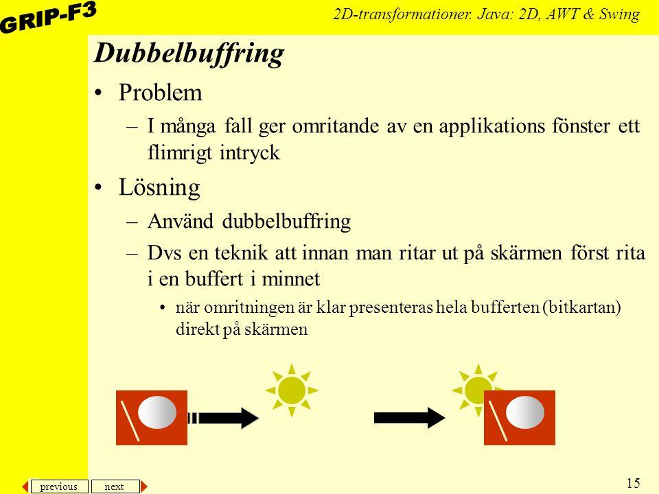 previous next 15 2D-transformationer. Java: 2D, AWT & Swing Dubbelbuffring Problem –I många fall ger omritande av en applikations fönster ett flimrigt