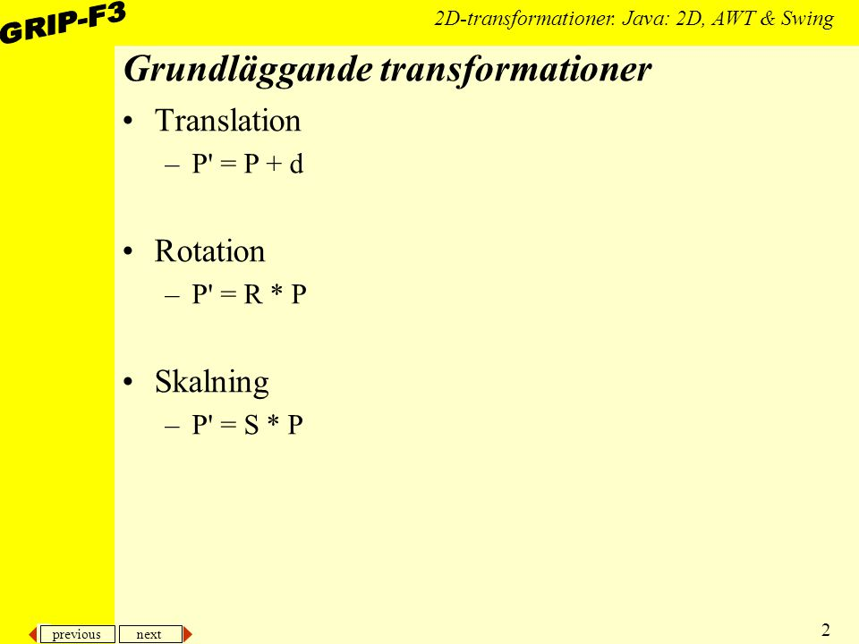 previous next 23 2D-transformationer.Java: 2D, AWT & Swing...