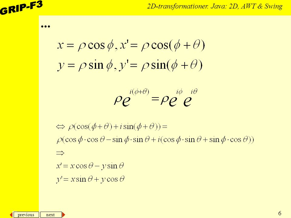previous next 6 2D-transformationer. Java: 2D, AWT & Swing...