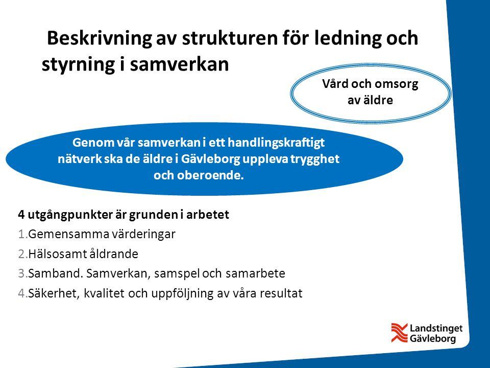 Handlingsplan Länsledning har prioriterat vad som ska göras utifrån Gemensamma utgångspunkter för vård och omsorg av de äldre i Gävleborg Länsledning har också planerat hur Länsledningsgruppen kommer att följa arbetet och vilken rapportering som kommer att begäras.