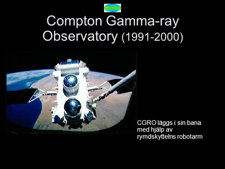 Compton Gamma-ray Observatory (1991-2000) CGRO läggs i sin bana med hjälp av rymdskyttelns robotarm