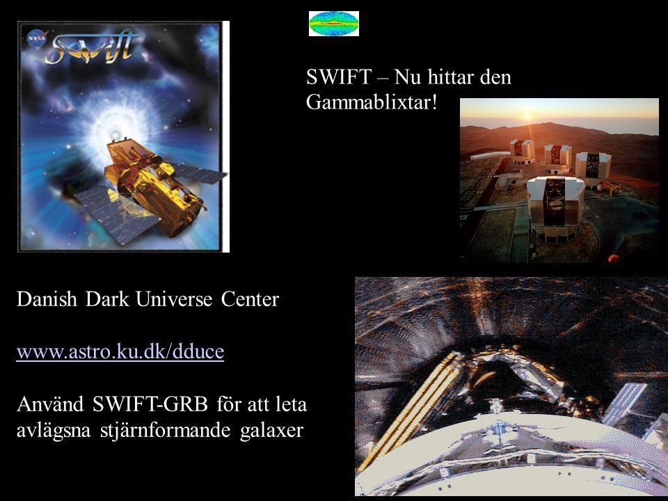 SWIFT – Nu hittar den Gammablixtar! Danish Dark Universe Center www.astro.ku.dk/dduce Använd SWIFT-GRB för att leta avlägsna stjärnformande galaxer