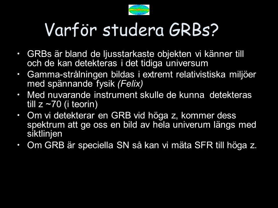 Varför studera GRBs? GRBs är bland de ljusstarkaste objekten vi känner till och de kan detekteras i det tidiga universum Gamma-strålningen bildas i ex