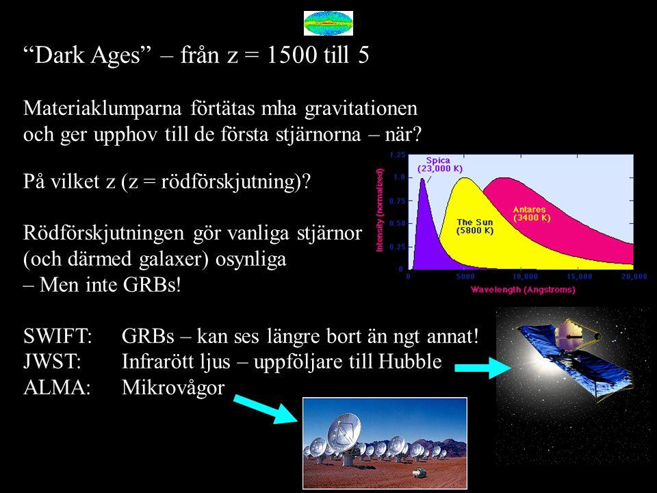 """""""Dark Ages"""" – från z = 1500 till 5 Materiaklumparna förtätas mha gravitationen och ger upphov till de första stjärnorna – när? På vilket z (z = rödför"""