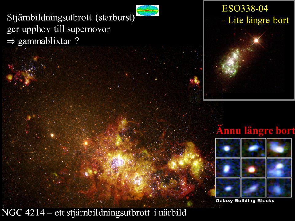 NGC 4214 – ett stjärnbildningsutbrott i närbild ESO338-04 - Lite längre bort Ännu längre bort Stjärnbildningsutbrott (starburst) ger upphov till supernovor ⇒ gammablixtar