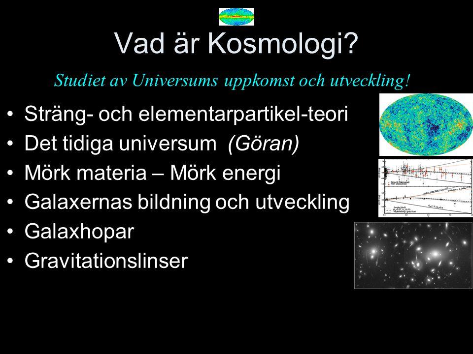 Vad är Kosmologi? Sträng- och elementarpartikel-teori Det tidiga universum (Göran) Mörk materia – Mörk energi Galaxernas bildning och utveckling Galax
