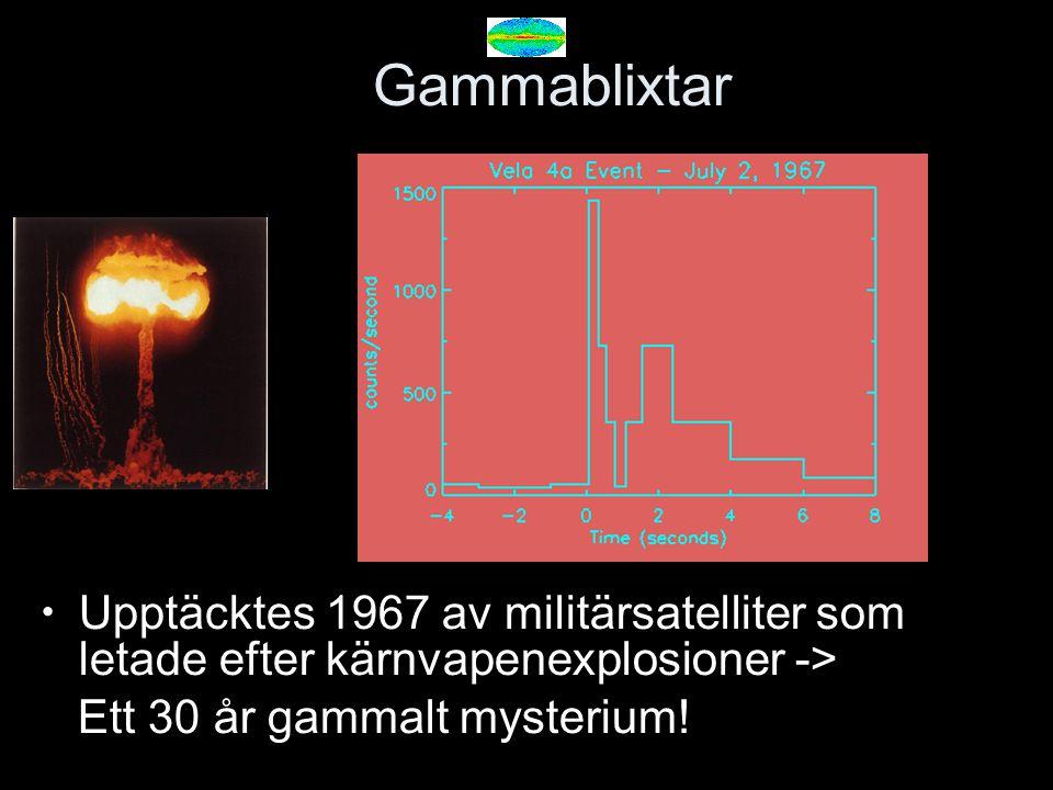 Gammablixtar Upptäcktes 1967 av militärsatelliter som letade efter kärnvapenexplosioner -> Ett 30 år gammalt mysterium! Velasatelliterna