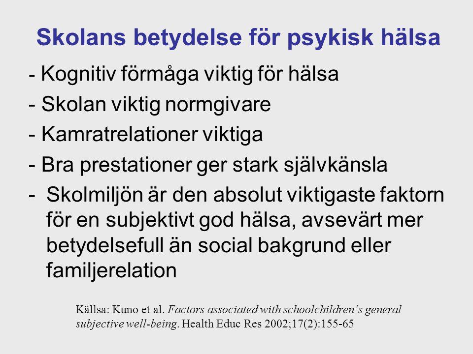 Skolans betydelse för psykisk hälsa - Kognitiv förmåga viktig för hälsa - Skolan viktig normgivare - Kamratrelationer viktiga - Bra prestationer ger s