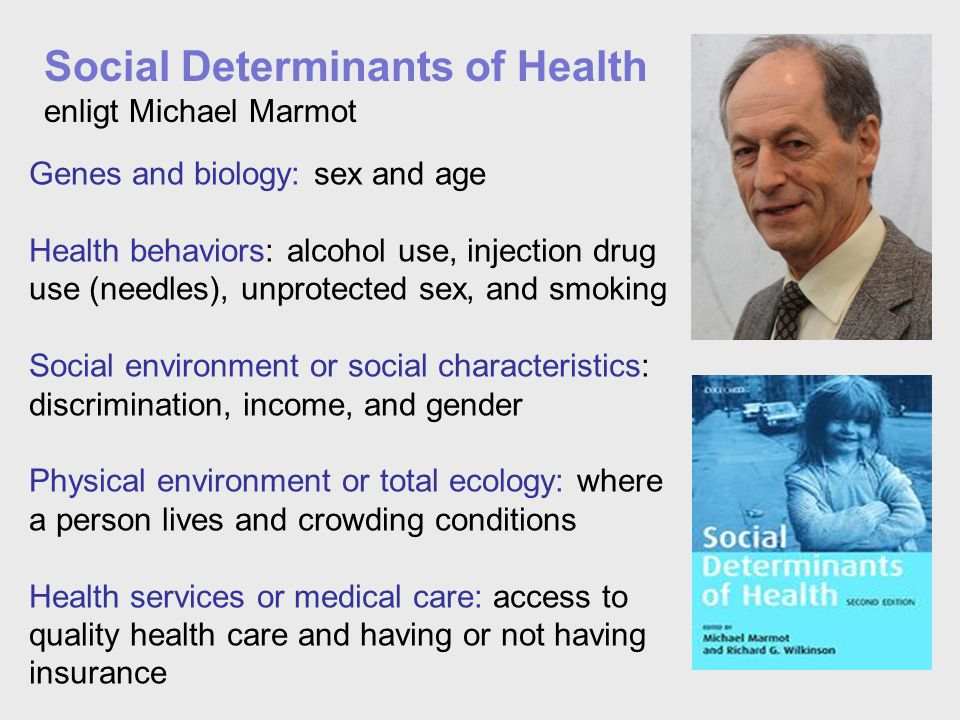 Genes and biology: sex and age Health behaviors: alcohol use, injection drug use (needles), unprotected sex, and smoking Social environment or social