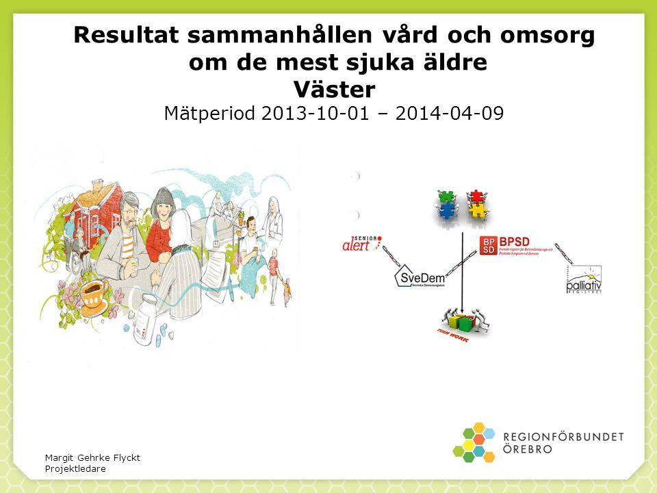 Resultat sammanhållen vård och omsorg om de mest sjuka äldre Väster Mätperiod 2013-10-01 – 2014-04-09 Margit Gehrke Flyckt Projektledare