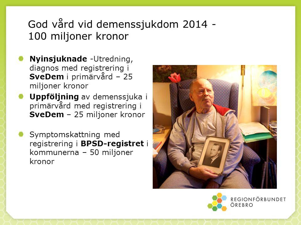 God vård vid demenssjukdom 2014 - 100 miljoner kronor Nyinsjuknade -Utredning, diagnos med registrering i SveDem i primärvård – 25 miljoner kronor Upp