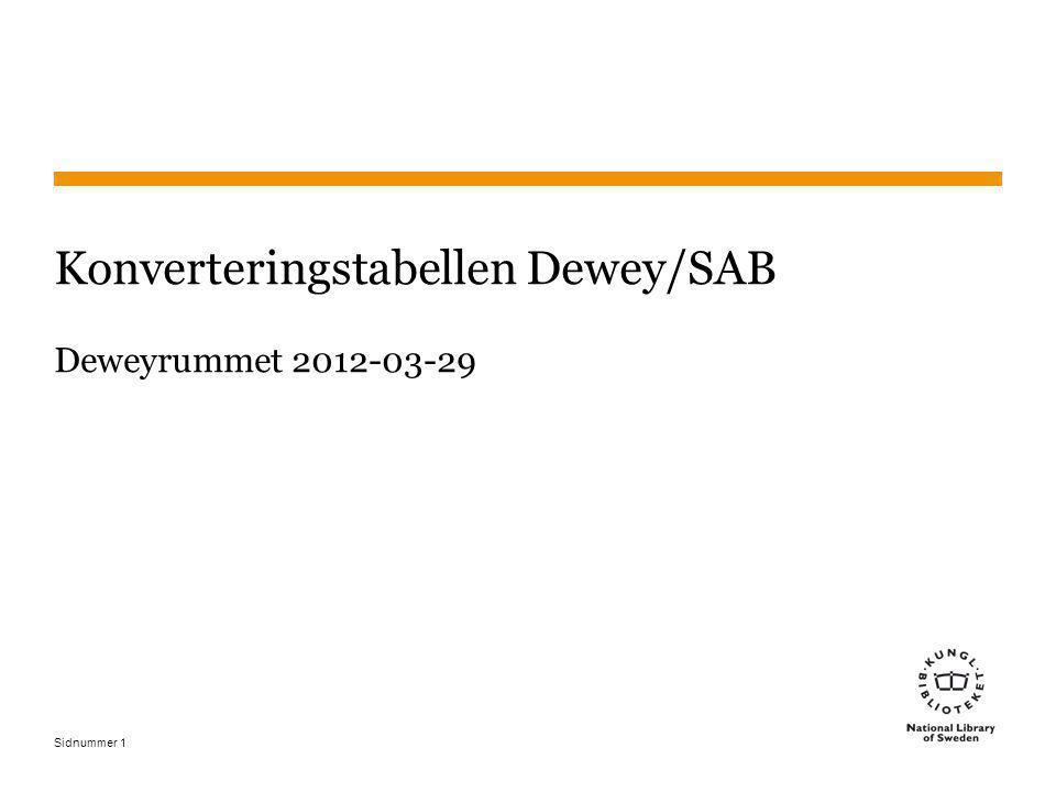 Sidnummer 2 Mappning Jämförelse av två olika system, t ex –Dewey och SAB –Dewey och Svenska ämnesord Exakta motsvarigheter Andra motsvarigheter En mappning kan sedan användas av datorer 2014-11-20 2 200 C
