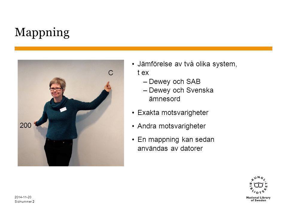 Sidnummer 2 Mappning Jämförelse av två olika system, t ex –Dewey och SAB –Dewey och Svenska ämnesord Exakta motsvarigheter Andra motsvarigheter En map