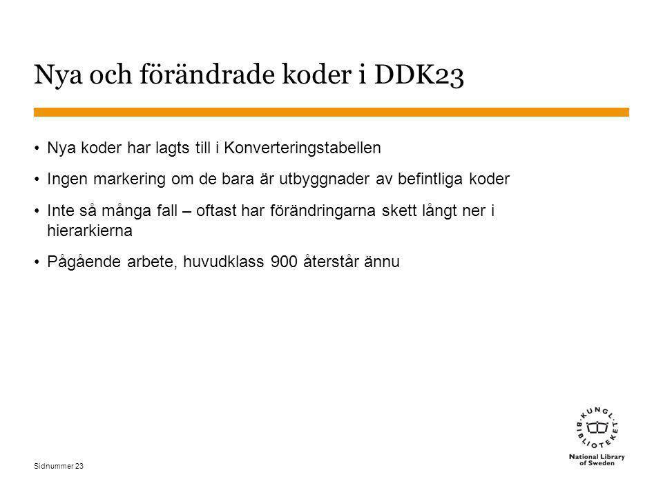 Sidnummer 23 Nya och förändrade koder i DDK23 Nya koder har lagts till i Konverteringstabellen Ingen markering om de bara är utbyggnader av befintliga