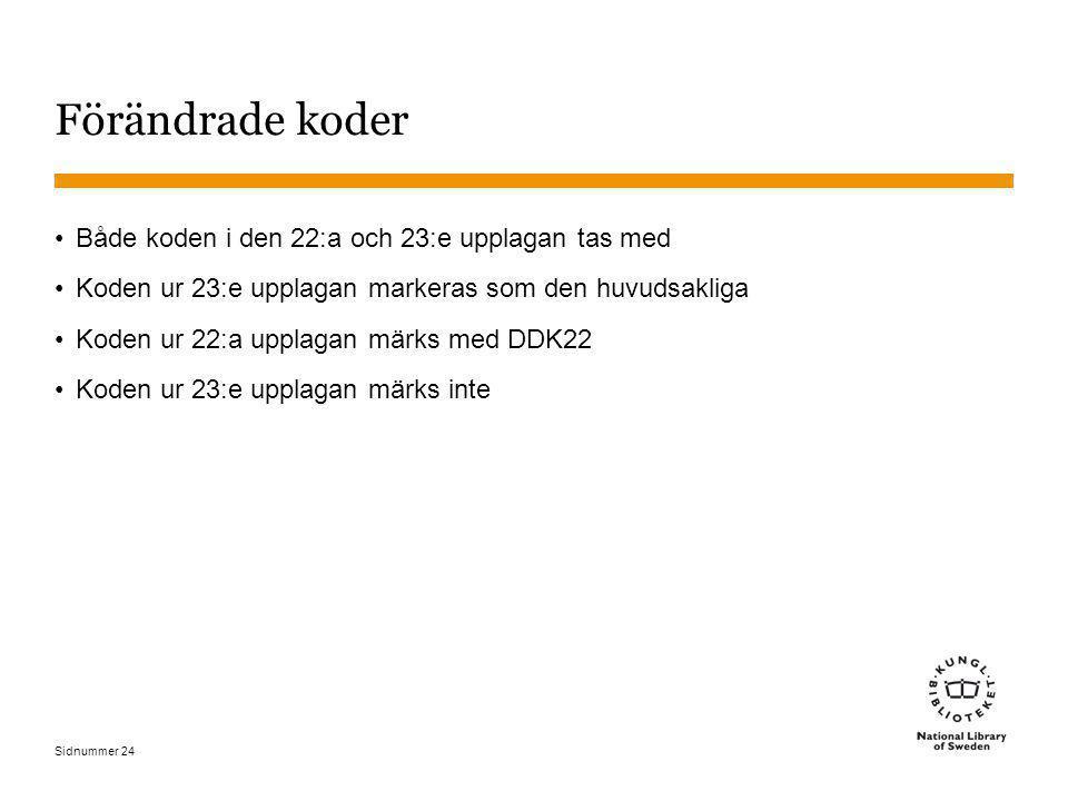 Sidnummer 24 Förändrade koder Både koden i den 22:a och 23:e upplagan tas med Koden ur 23:e upplagan markeras som den huvudsakliga Koden ur 22:a uppla