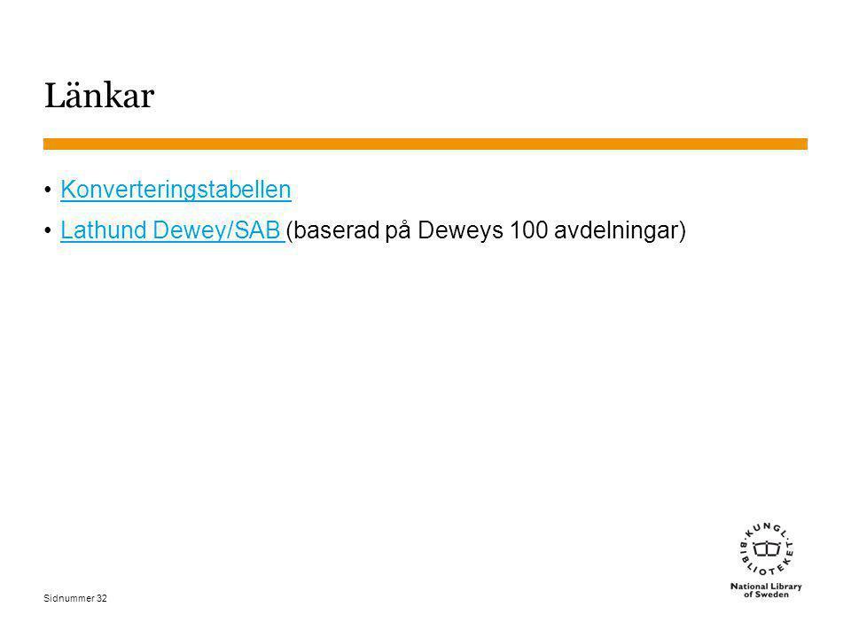 Sidnummer 32 Länkar Konverteringstabellen Lathund Dewey/SAB (baserad på Deweys 100 avdelningar)Lathund Dewey/SAB