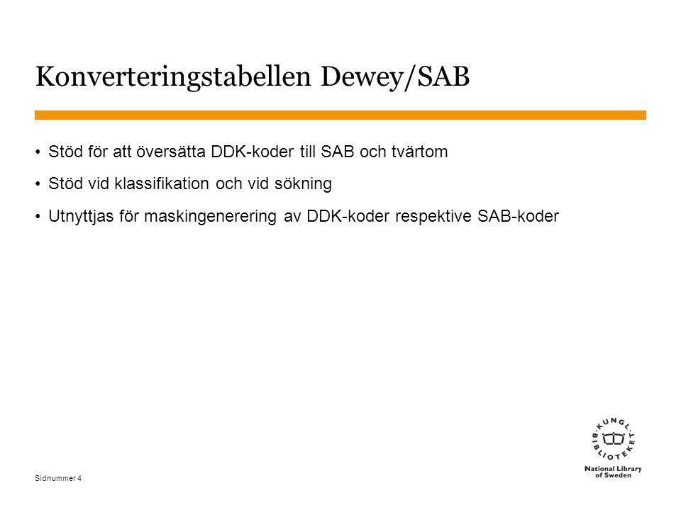 Sidnummer 4 Konverteringstabellen Dewey/SAB Stöd för att översätta DDK-koder till SAB och tvärtom Stöd vid klassifikation och vid sökning Utnyttjas fö