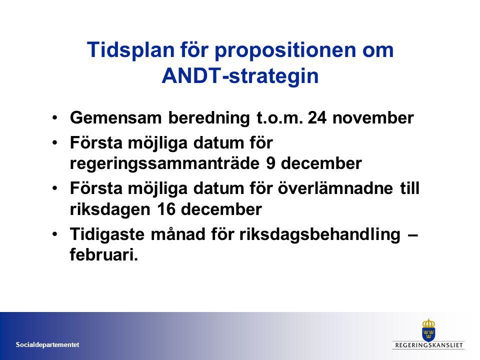 Socialdepartementet Tidsplan för propositionen om ANDT-strategin Gemensam beredning t.o.m. 24 november Första möjliga datum för regeringssammanträde 9