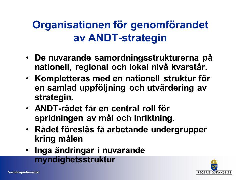 Socialdepartementet Organisationen för genomförandet av ANDT-strategin De nuvarande samordningsstrukturerna på nationell, regional och lokal nivå kvarstår.