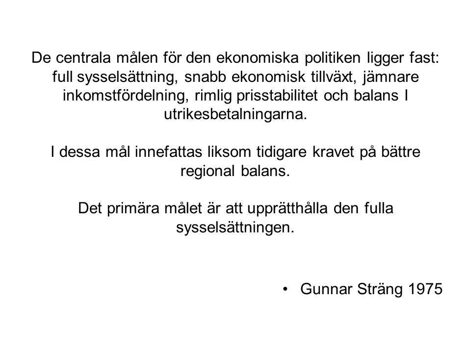 De centrala målen för den ekonomiska politiken ligger fast: full sysselsättning, snabb ekonomisk tillväxt, jämnare inkomstfördelning, rimlig prisstabi