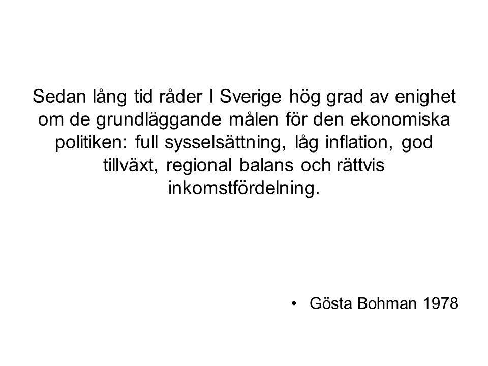 Sedan lång tid råder I Sverige hög grad av enighet om de grundläggande målen för den ekonomiska politiken: full sysselsättning, låg inflation, god til