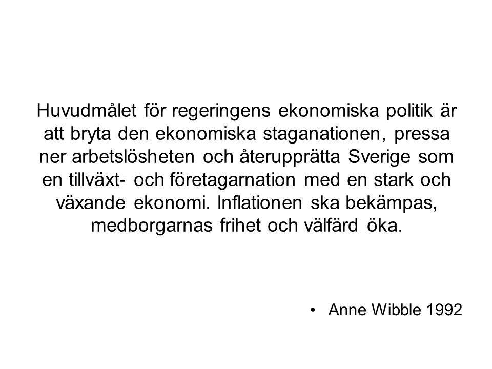 Huvudmålet för regeringens ekonomiska politik är att bryta den ekonomiska staganationen, pressa ner arbetslösheten och återupprätta Sverige som en til
