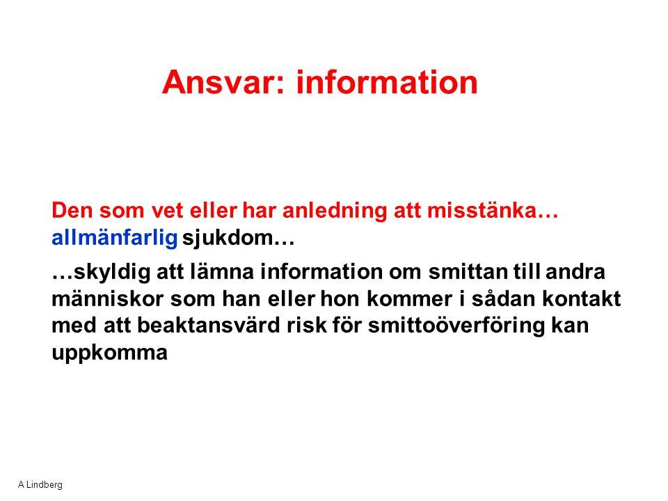 A Lindberg Ansvar: information Den som vet eller har anledning att misstänka… allmänfarlig sjukdom… …skyldig att lämna information om smittan till and