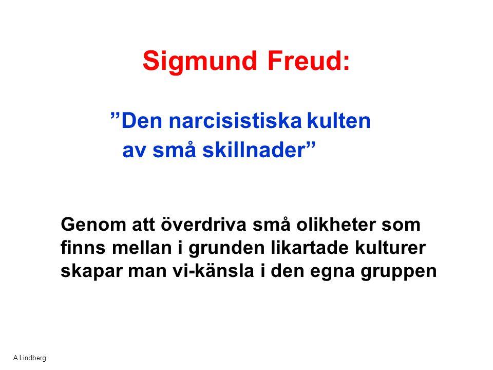 """A Lindberg """"Den narcisistiska kulten av små skillnader"""" Sigmund Freud: Genom att överdriva små olikheter som finns mellan i grunden likartade kulturer"""