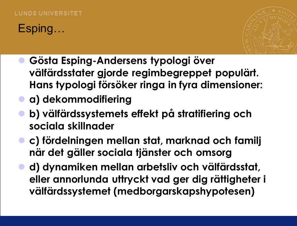 L U N D S U N I V E R S I T E T Esping… Gösta Esping-Andersens typologi över välfärdsstater gjorde regimbegreppet populärt.