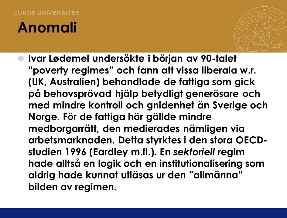 L U N D S U N I V E R S I T E T Anomali Ivar Lødemel undersökte i början av 90-talet poverty regimes och fann att vissa liberala w.r.