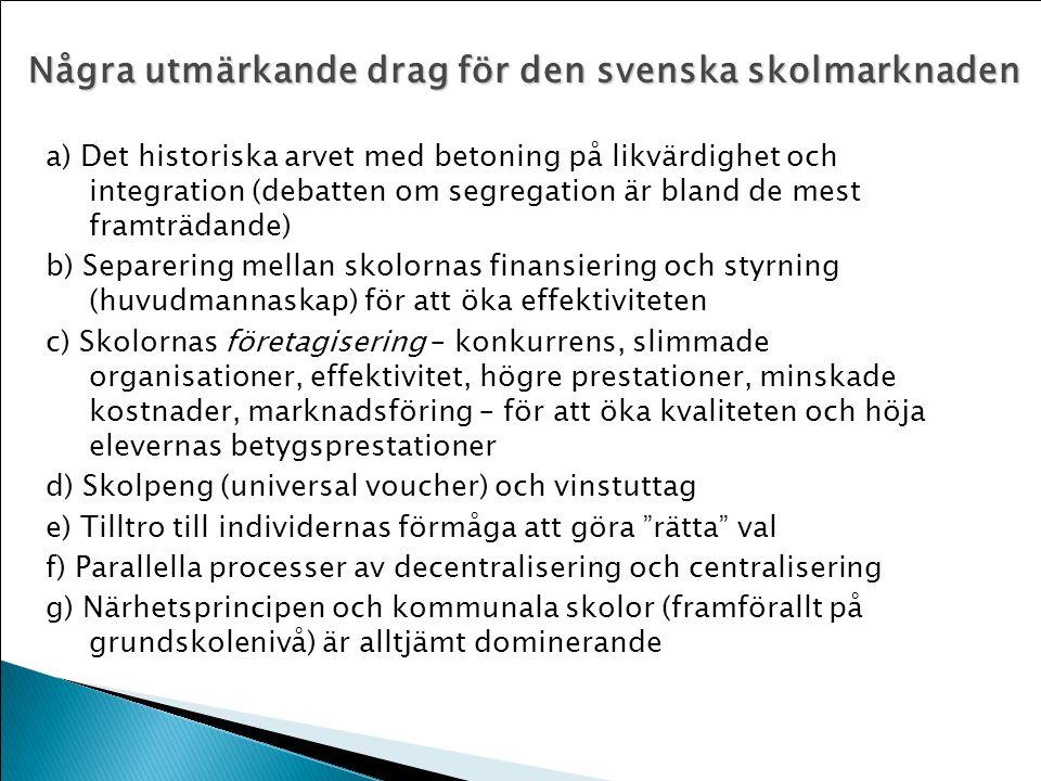 Några utmärkande drag för den svenska skolmarknaden a) Det historiska arvet med betoning på likvärdighet och integration (debatten om segregation är b