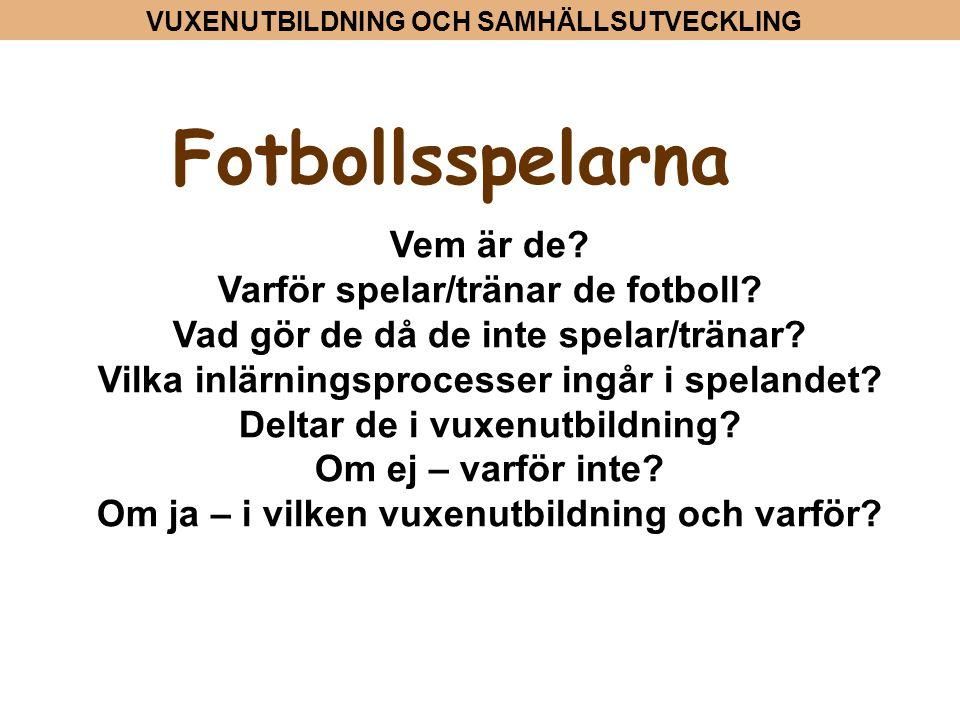 VUXENUTBILDNING OCH SAMHÄLLSUTVECKLING Fotbollsspelarna Vem är de? Varför spelar/tränar de fotboll? Vad gör de då de inte spelar/tränar? Vilka inlärni