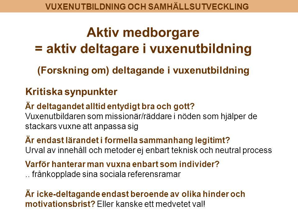 VUXENUTBILDNING OCH SAMHÄLLSUTVECKLING Aktiv medborgare = aktiv deltagare i vuxenutbildning (Forskning om) deltagande i vuxenutbildning Kritiska synpu