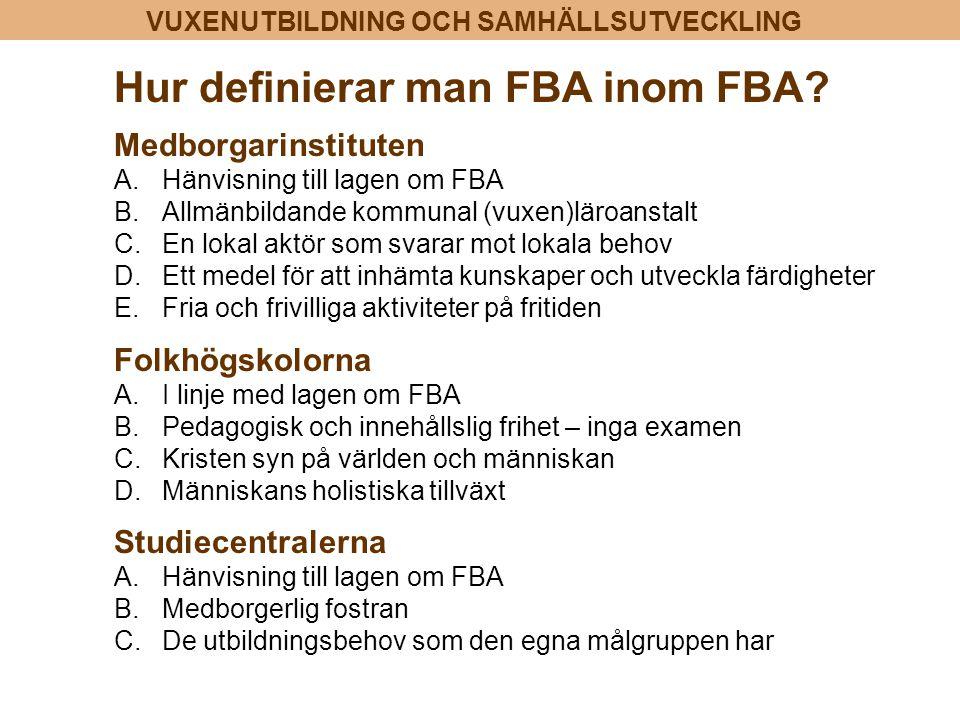 VUXENUTBILDNING OCH SAMHÄLLSUTVECKLING Hur definierar man FBA inom FBA? Medborgarinstituten A.Hänvisning till lagen om FBA B.Allmänbildande kommunal (